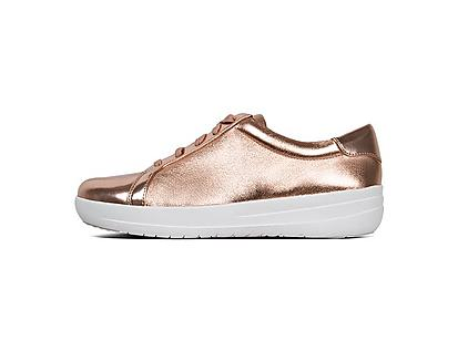 F-Sporty athleisure sneaker in Rose gold. Featuring Metallic glossy faux-leather.