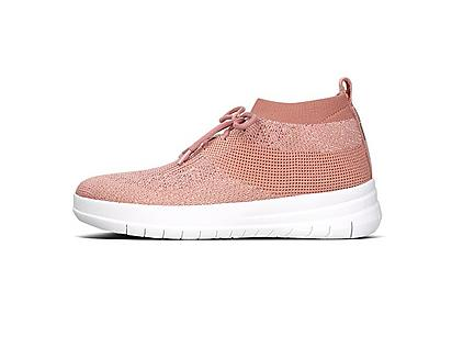 Women's Dusty Pink knitted sneakers with pink laces and white base.