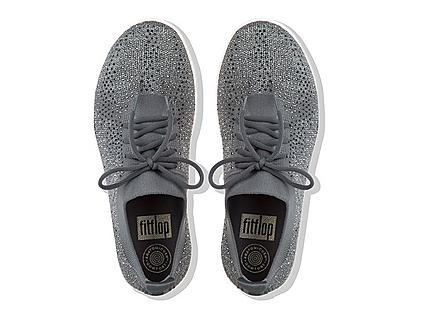 Uberknit Slip-on sneakers in Grey. Smothered in shimmering multi-tonal crystals.