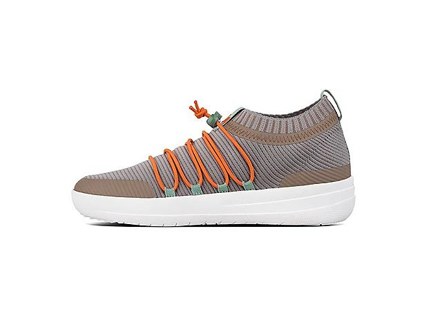 Uberknit Ghillie Slip-on Sneakers in colour concrete mix with orange bungee laces.