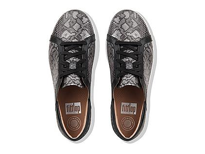 Leather Lace up sneakers with snake print design.