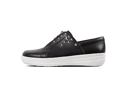 Black sneaker featuring zip up front and silver studded stars.