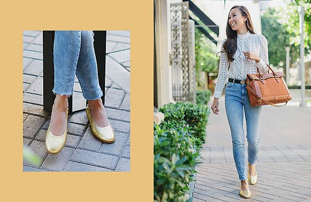 Fitflop Allegro Gold Leather Ballerinas with Ripped Jeans