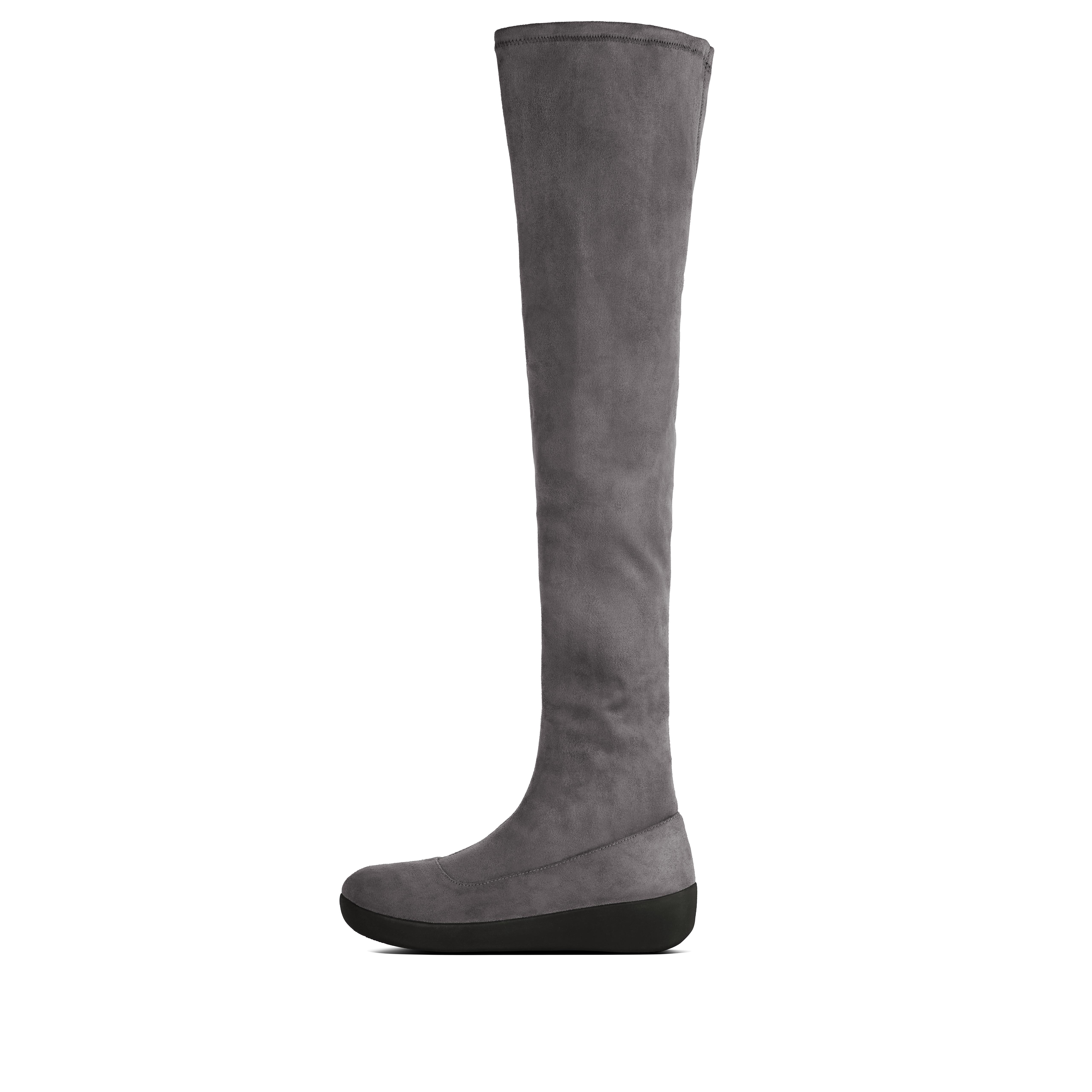 Our boots reach new heights (literally) with this beautiful over the knee pair. Supertall boots are a major trend and - in soft, second-skin, stretch faux-suede with our sleek, all-day cushioning Supercom FF midsoles - these are a particularly covetable example. Fashiony, flattering, fabulously comfortable. try wearing yours with skinnies, leggings and slit/wrap/mini dresses and skirts.