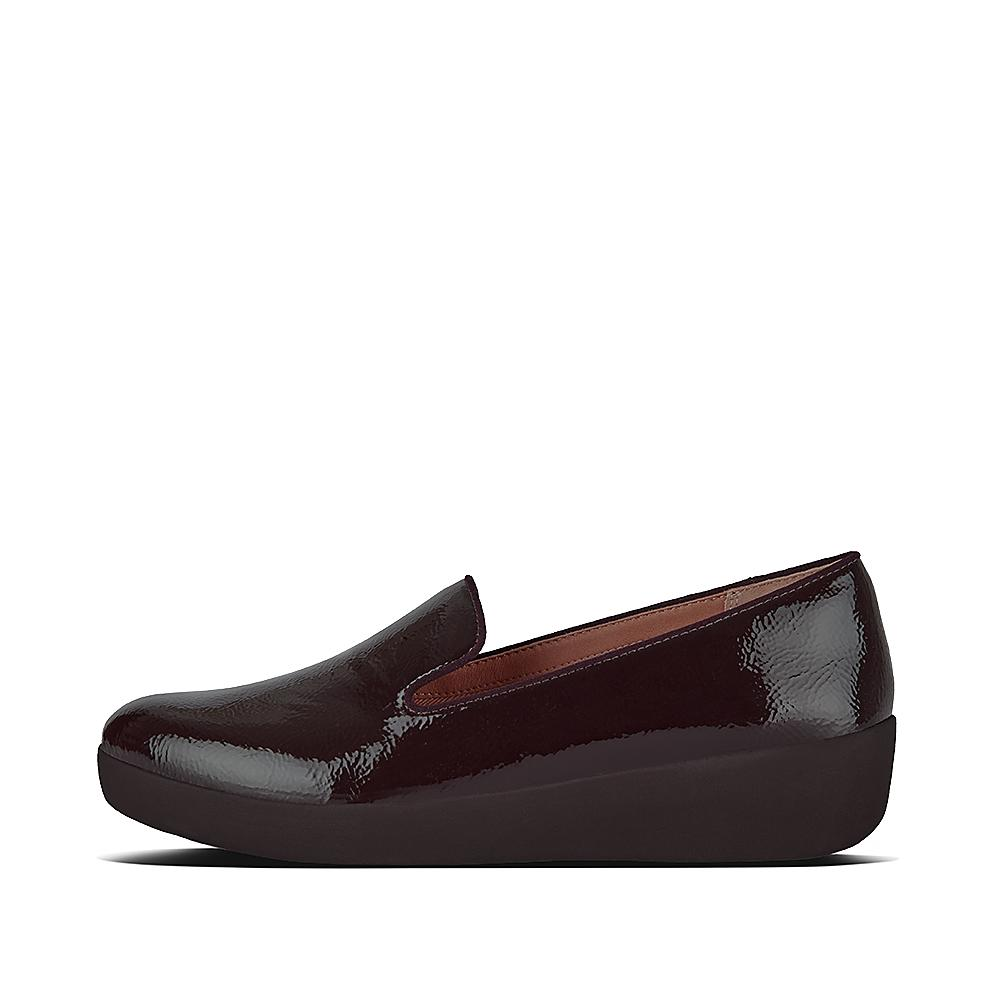 Audrey crinkle patent smoking slippers berry m94 620