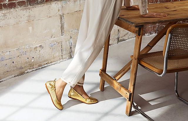 Fitflop Gold leather ballerinas