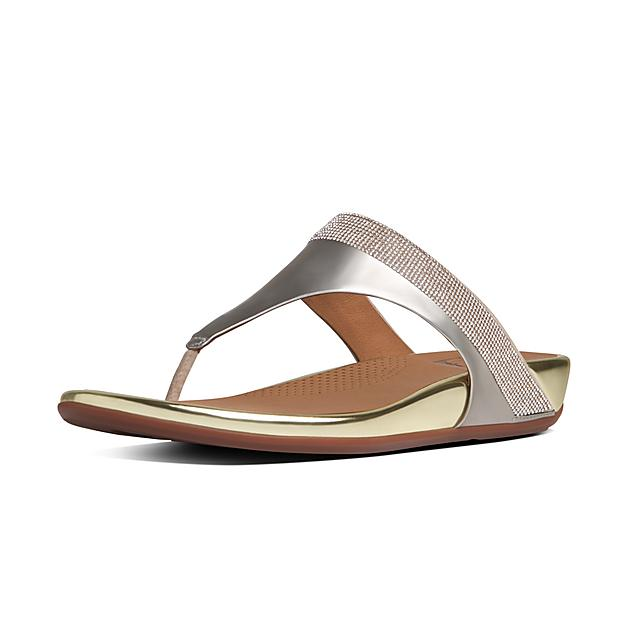 6c82a189c296b Fitflop™ Women s Banda Leather Toe-Thongs Pale Gold