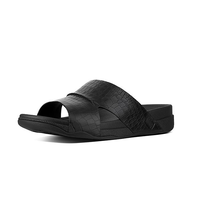 21a6c11c08dd BANDO. Men s Croc-Effect Leather Slides