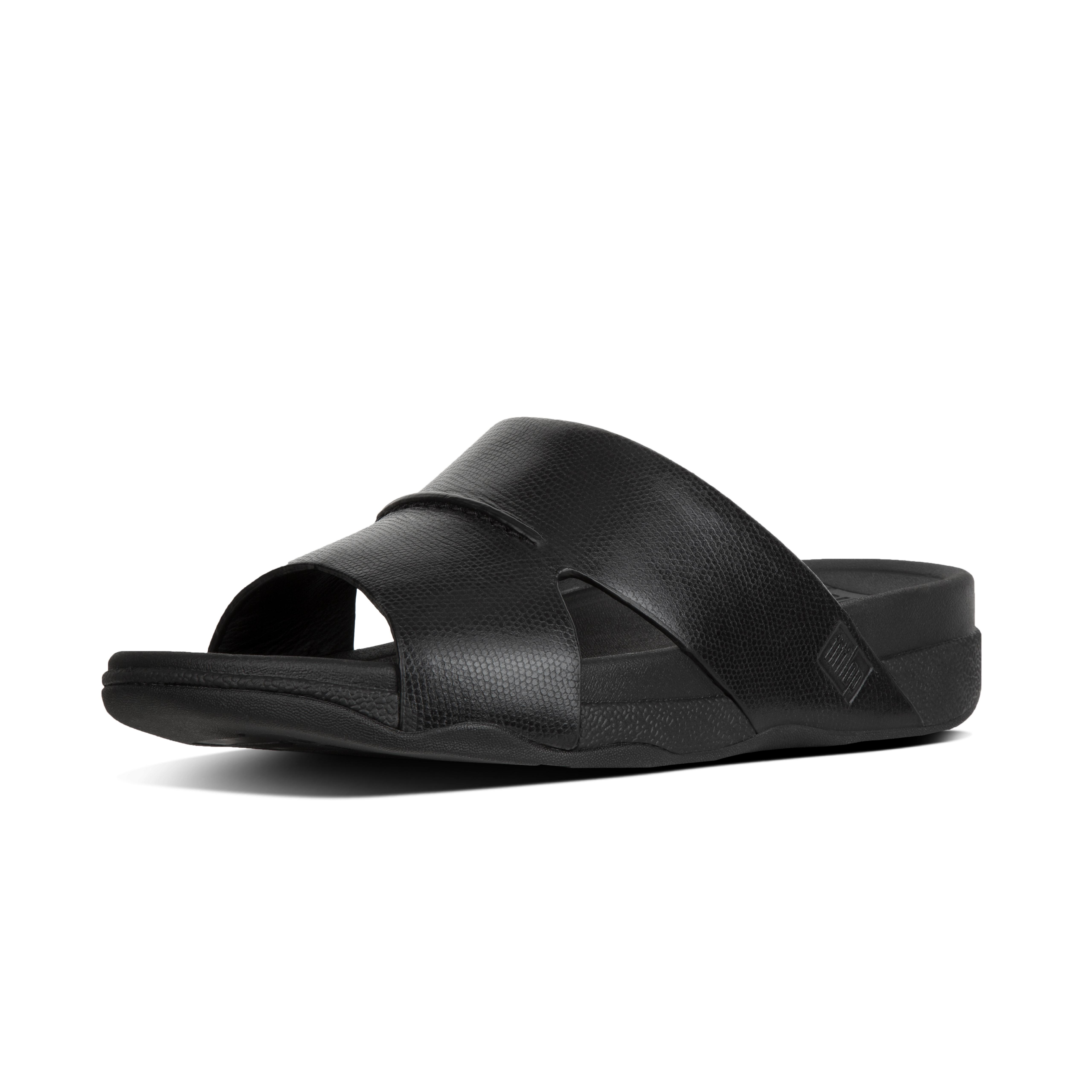 Bando slide in lizard printed leather black k85 001