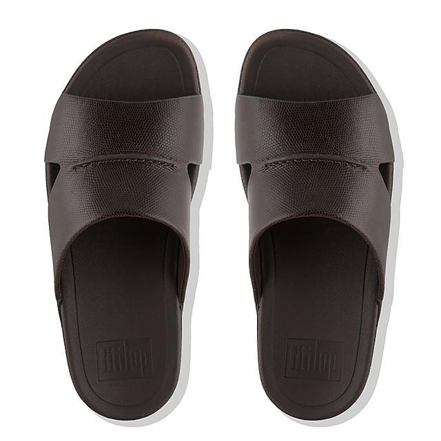 202347eec37f BANDO. Men s Lizard-Print Leather Slides