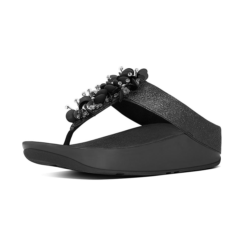 20b5a075266eb FitFlop Boogaloo Toe-Post Leather Black-Taille 37 Sandales Bride Cheville  Femme Beige (