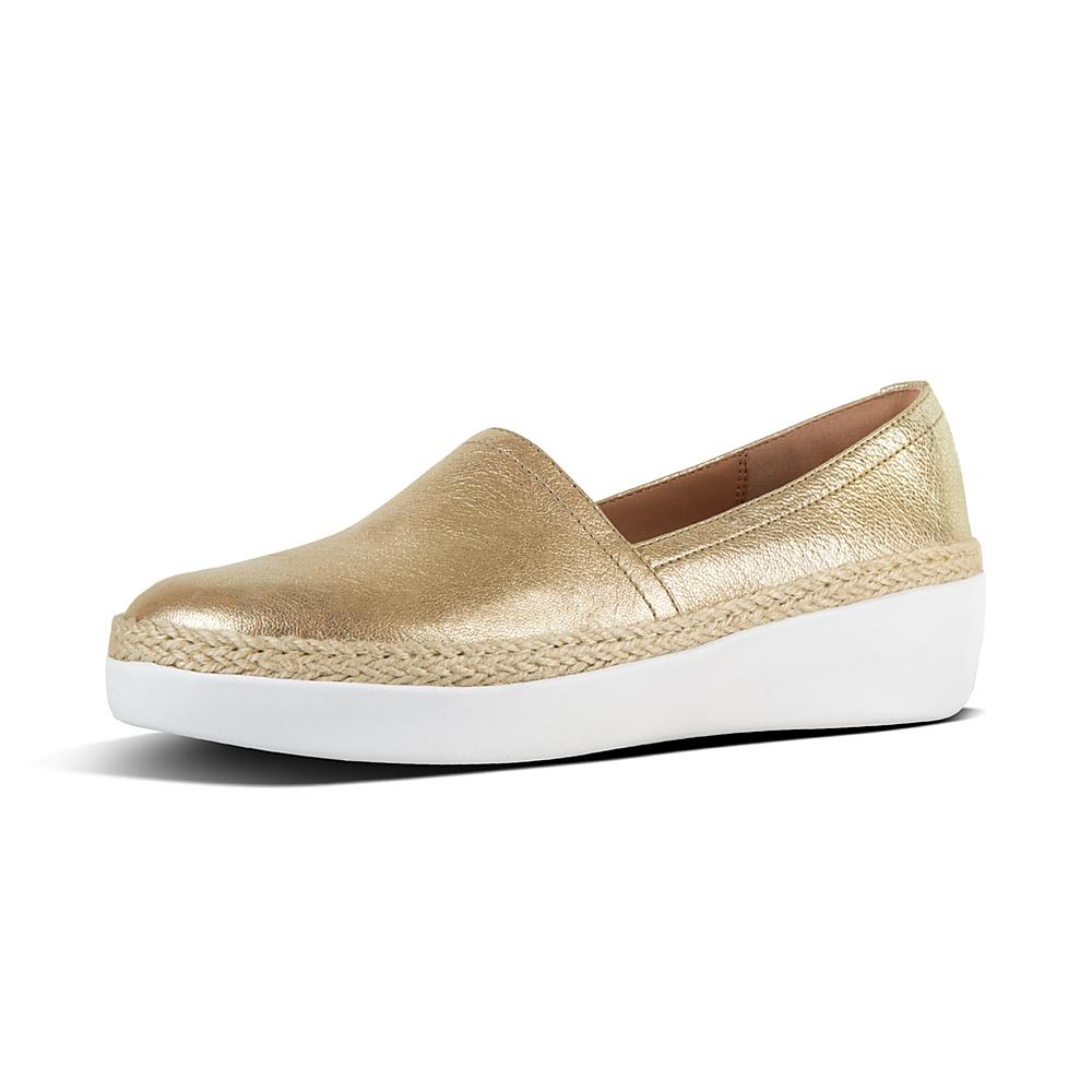 Casa Metallic Leather Slip-On Loafers