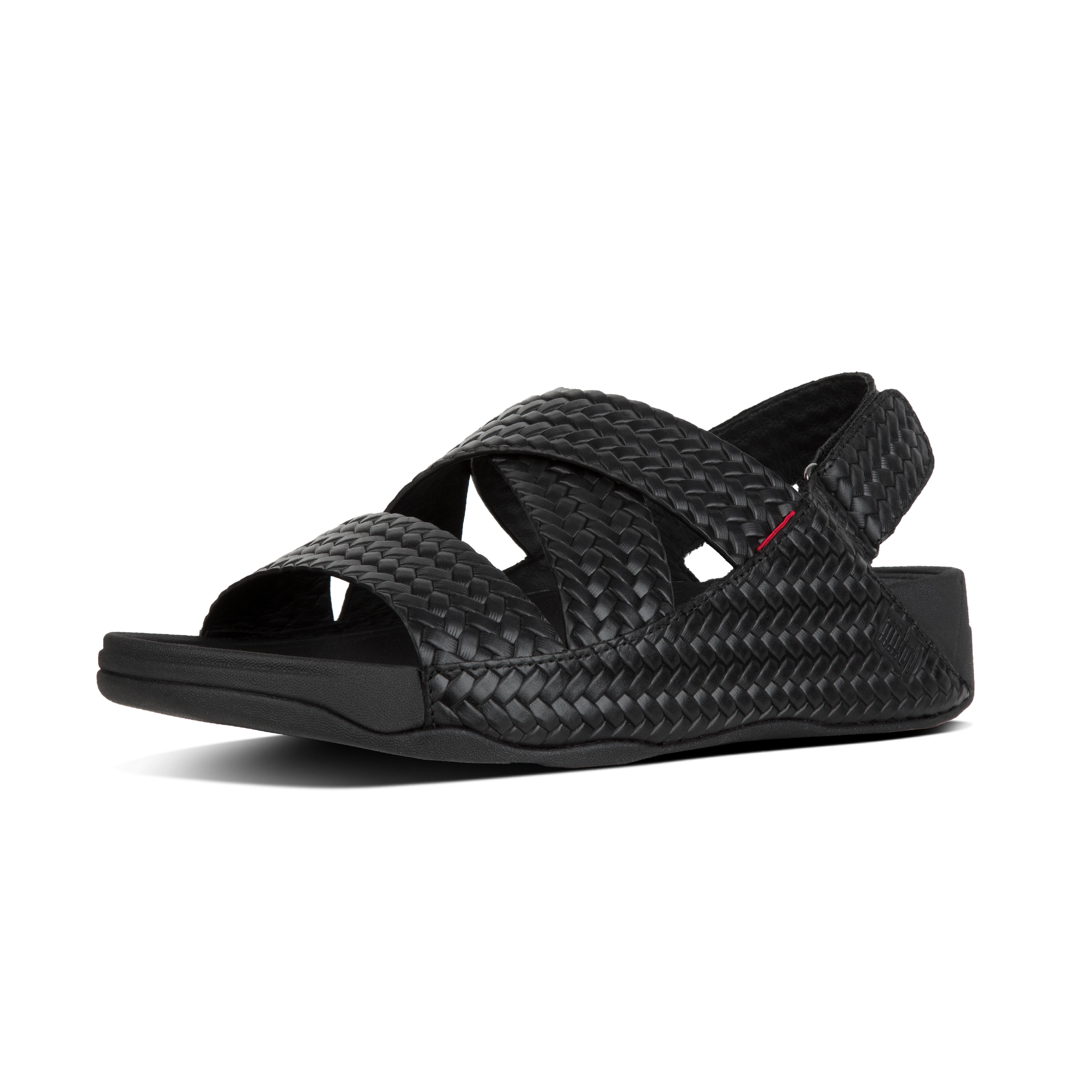 Chi sandal in woven embossed leather black k87 001?v=3