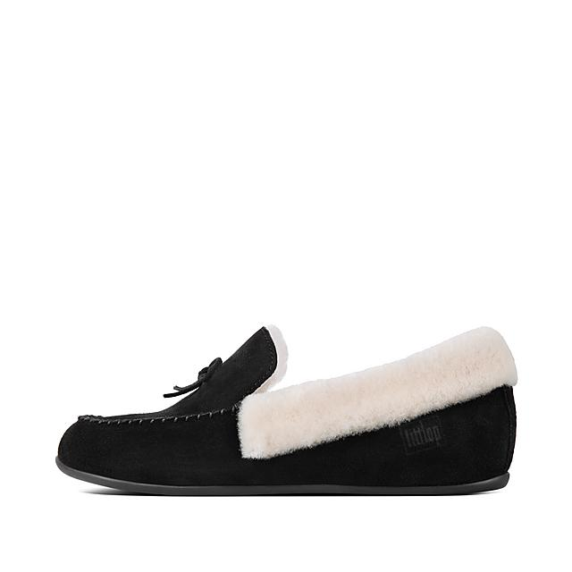 ee86888b260a CLARA. Shearling Suede Moccasin Slippers