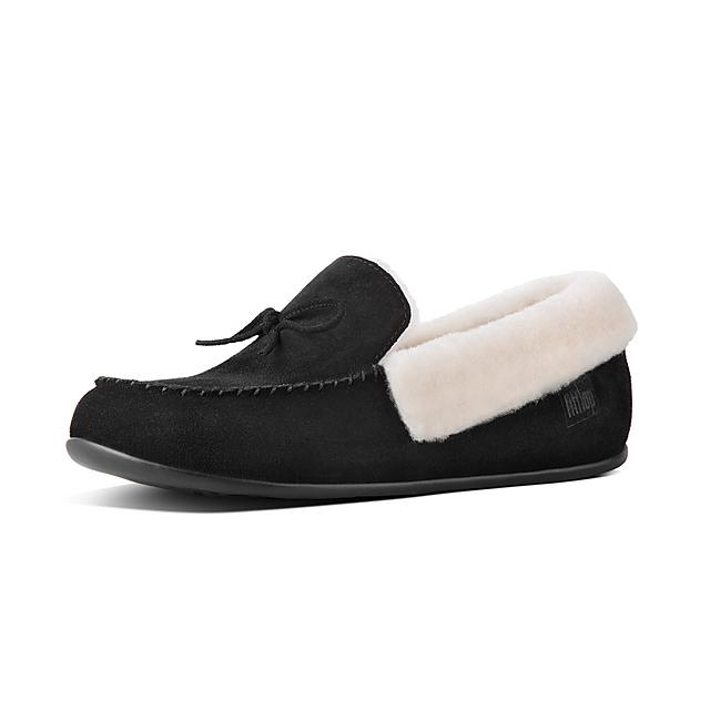 ef1ee2a3676c3 CLARA. Shearling Suede Moccasin Slippers