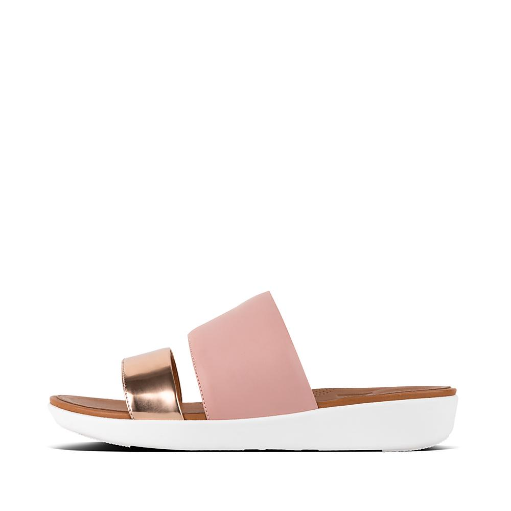 FitFlop Delta Slide - Dusky Pink/Rose Gold Mirror