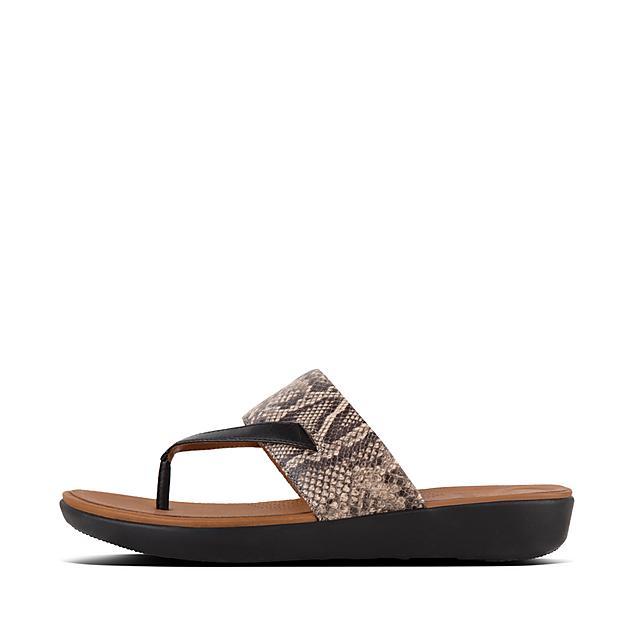 82e17ed7b5de DELTA. Snake-Print Leather Toe-Thongs