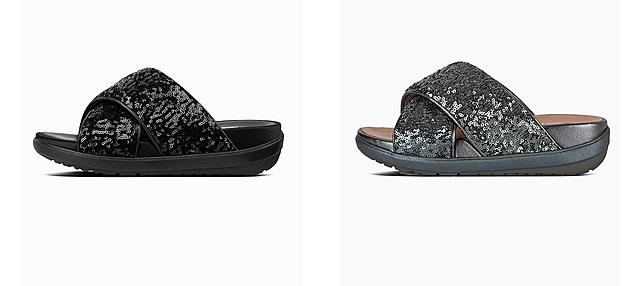 Loosh Luxe Cross slide Sandals in black and Silver, featuring sequin straps.