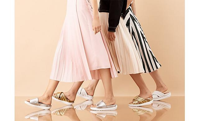 Three pairs of Silky Loosh Lux Sandals shown in Gold, silver and white and classic and cross-over slides options.
