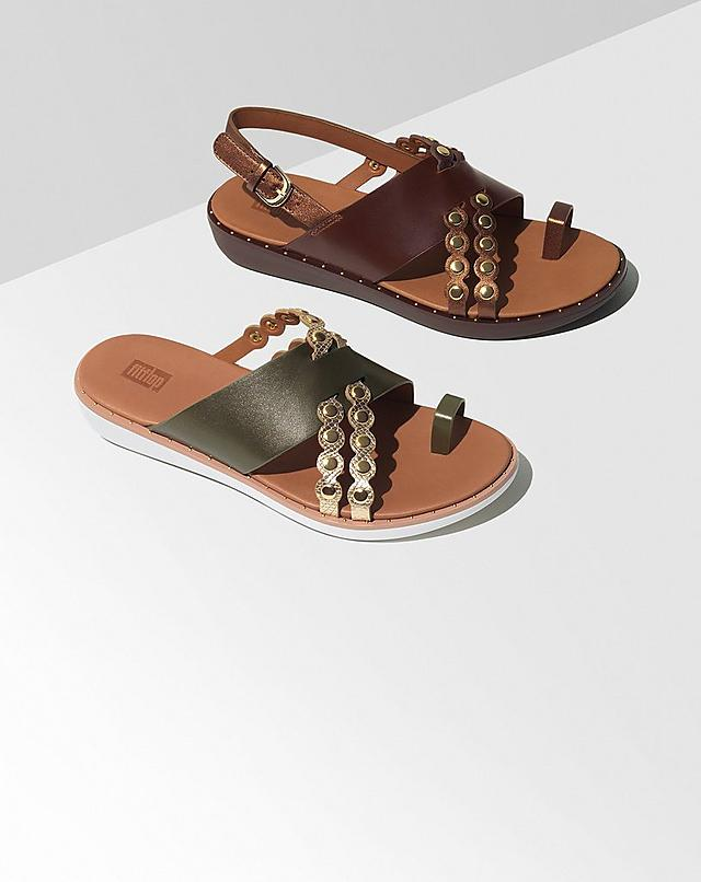Leather Sandals with gold studded detailing and snake embossed prints. In your choice of slides or back-straps and Green and Brown colours.