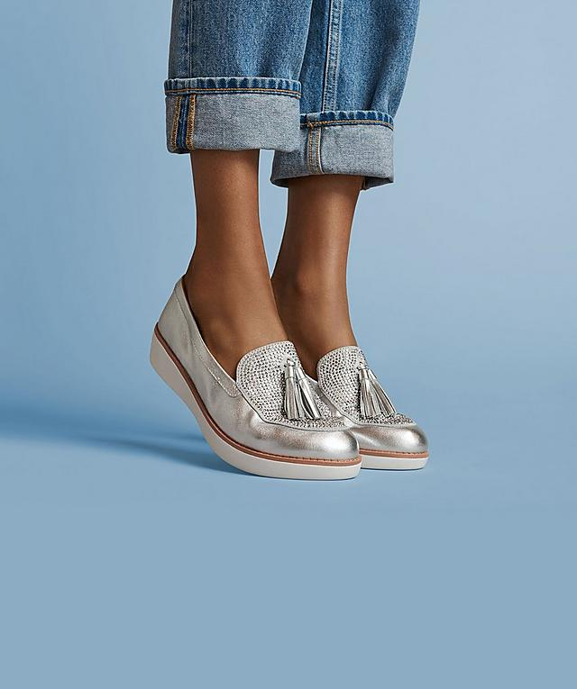 Ladies silver embellished shoes with tassels, new in the women's collection.