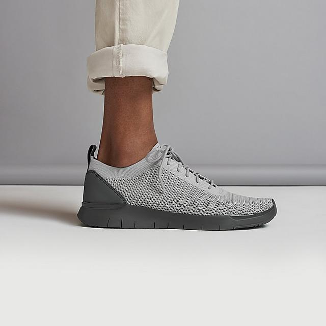 Men's Knitted Light Grey Sneakers with a dark Grey base.