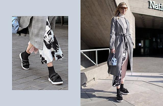 Fashion Week Black Pull on sock boots featuring faux-leather plaits.