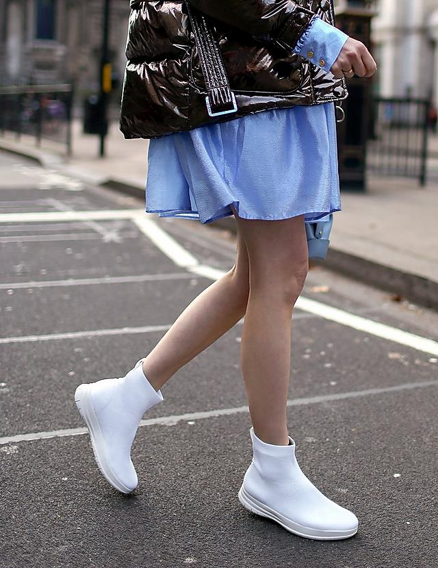 Fashion week, Pull on ankle hugging white sock boots.