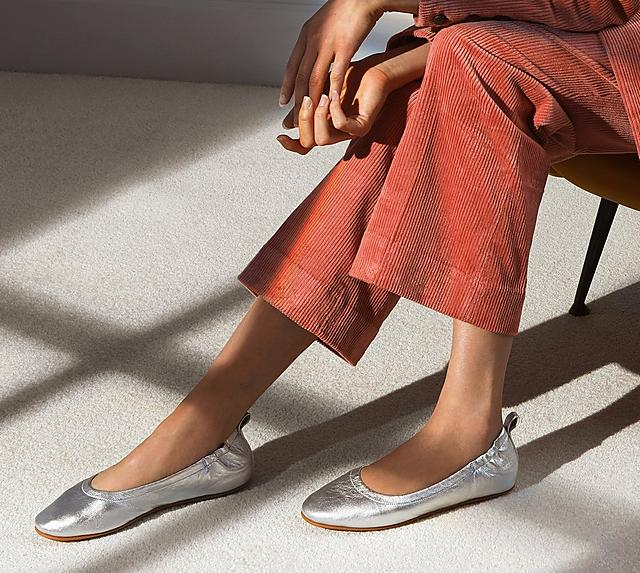 Fitflop Allegro Leather Ballerinas in colour Silver.