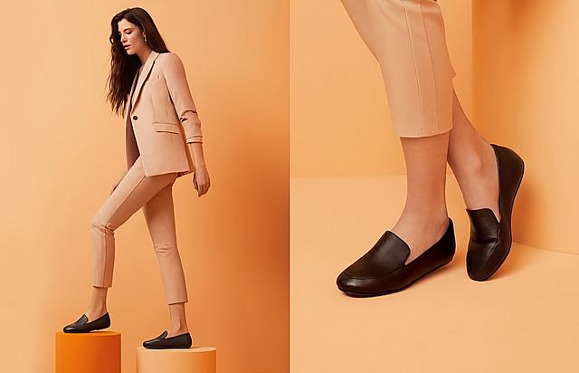 Fotflop Classic Slip-on Lena Leather Loafers in Black.