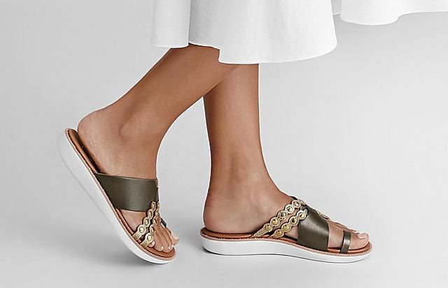 Fitflop Scallop Sandals in Gold and Green with Scallop details and studs.