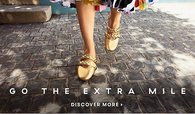 Fitflop Go the Extra Mile Campaign. Gold Ballerinas with Braid.