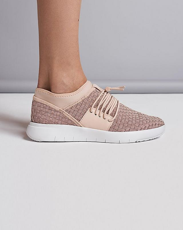 Fitflop Womens Ergonomic Sneakers with Stripknit detail and Bungee laces in Pink