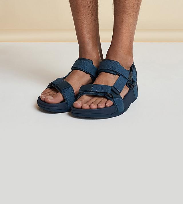 TRAKK II Men's Leather Toe-Thongs with adjustable straps in Black