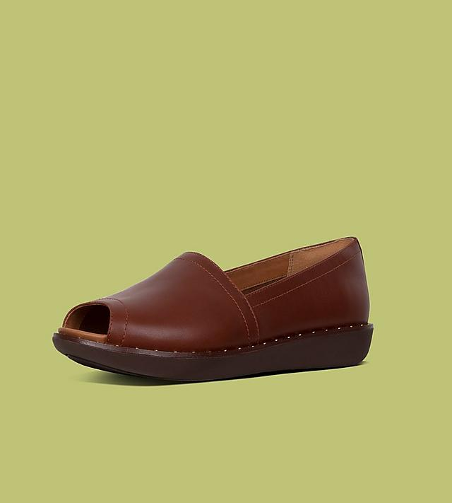 Nadia Leather Peep-toe Loafer in Tan with Studded Details.