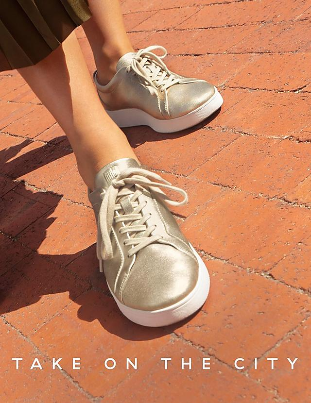 Fitflop Take On The City Campaign. Rally Gold Leather Sneakers.