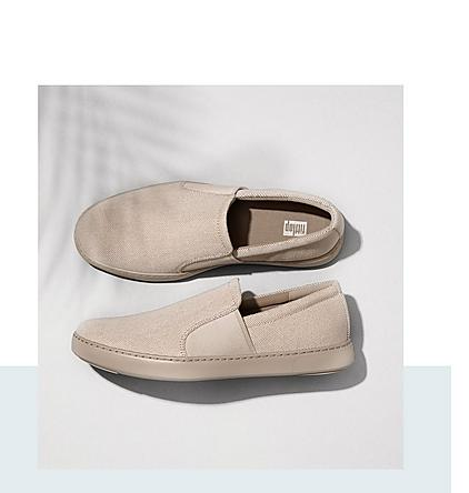 FitFlop Texture-Canvas Slip-On Skate Shoes.