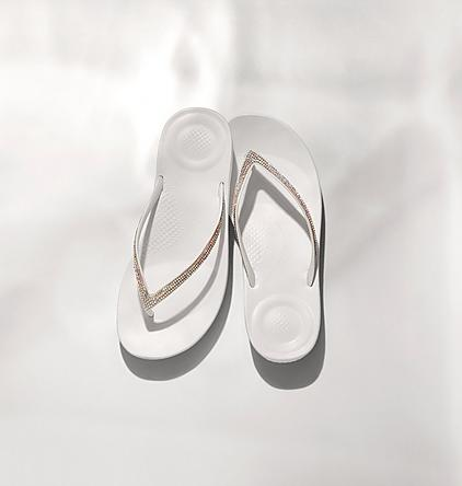 FitFlop IQushion Sparkle Ergonomic Flip-Flops.