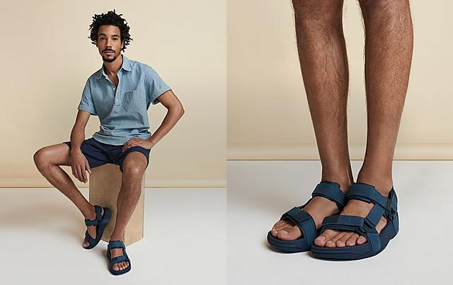 Mens chunky soled sandals with adjustable straps in Navy colour.