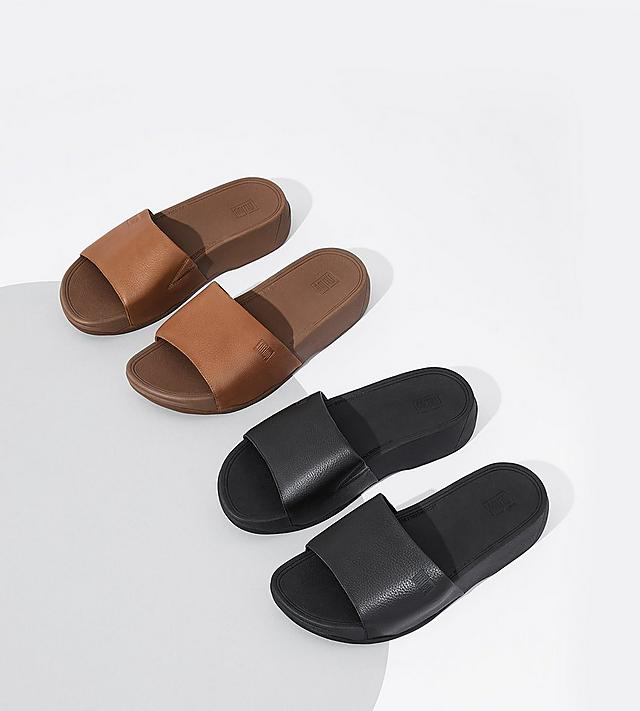 Men's Classic Leather Slides in Black and Tan colours.