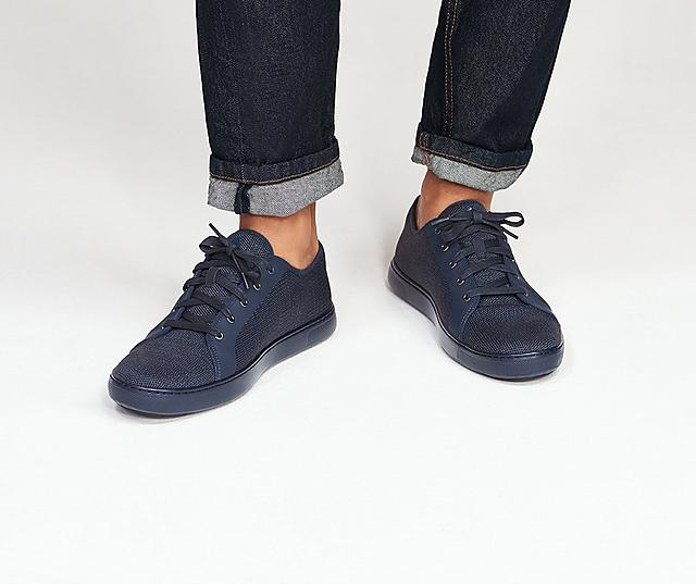 Fitflop Christophe Men's Knitted Sneakers in Blue.