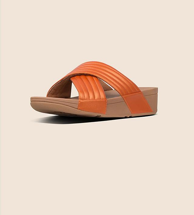 f49c37a9b WOMEN S SALE SNEAKERS. SHOP NOW · Fitflop Slip-on Cross-over Slide Sandals  in Orange with Chunky Soles.