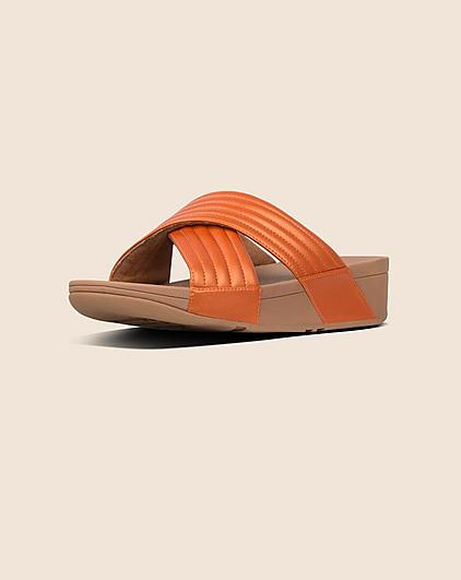 1688a00b4d07 Fitflop Slip-on Cross-over Slide Sandals in Orange with Chunky Soles.