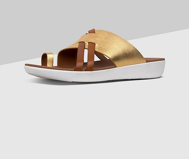 Fitflop Leather Slide Toe-thong Sandal in gold and tan colours.