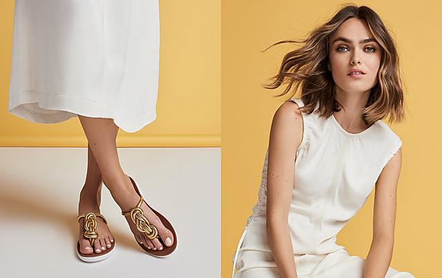 0b8c33b1c Fitflop Gold Toe-post sandals with twist detail