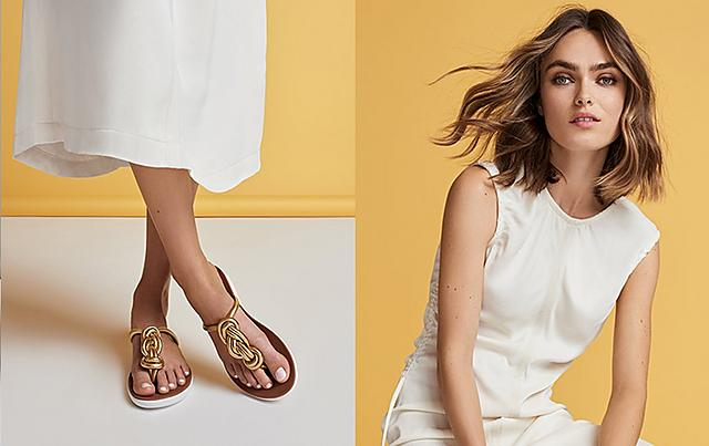 6f42282f032 Fitflop Gold Toe-post sandals with twist detail