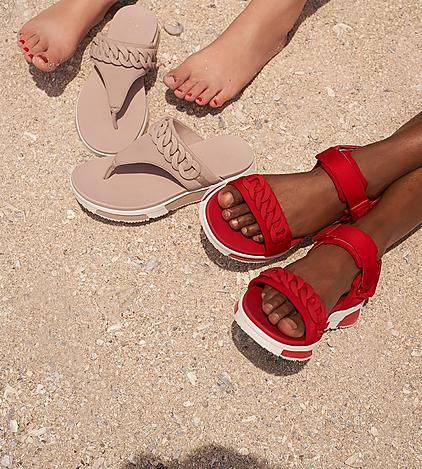 Fitflop Heda chain Sandals in Mink pink and Passion red colours with white chunky base.