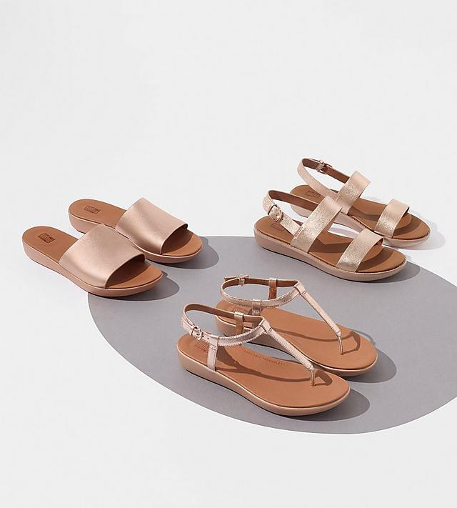 FitFlop Rose Gold Sandals for Women.