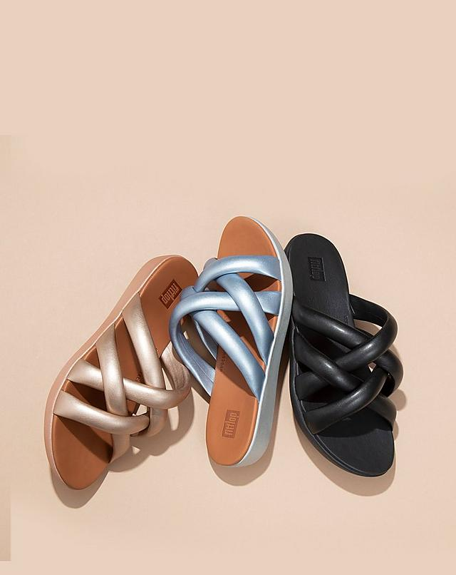 Fitflop Helga Slide sandals with puffy criss-cross straps in three colour options.