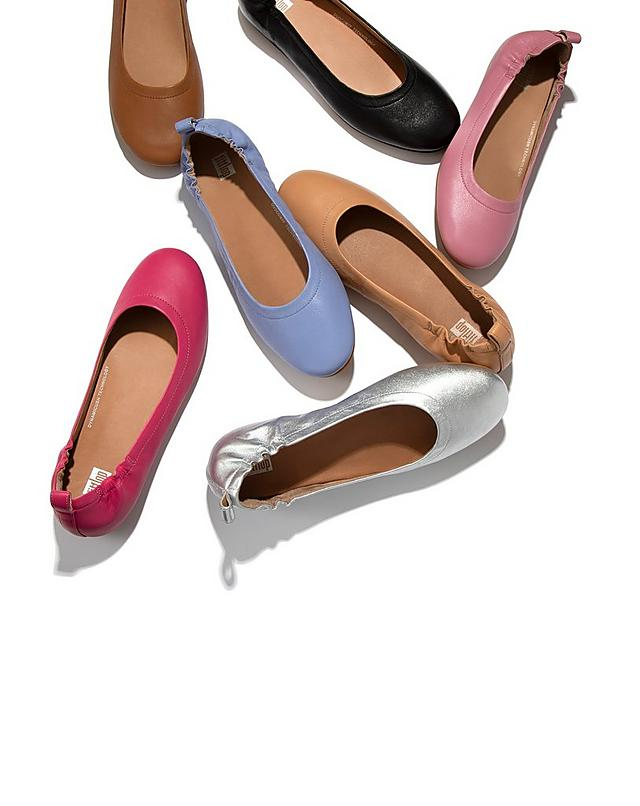 A selection of Fitflop classic leather ballerinas in metallic, neutral and bright colours.